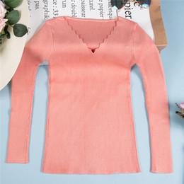 Suéter de invierno de corea online-2019 Mujer onda recortada Mujer cuello en V otoño invierno suéter de la manera del estilo coreano de punto de puente para las mujeres Sudadera con FS8221