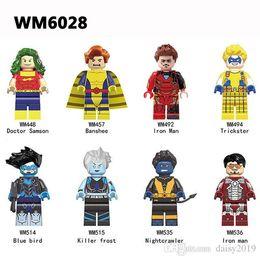 Super Heróis WM6028 Assassino Frost Blue Bird Homem De Ferro Trapaceiro Médico Samson Nightcrawler Banshee Brinquedos Presentes cheap iron man toy blue de Fornecedores de ferro brinquedo homem azul