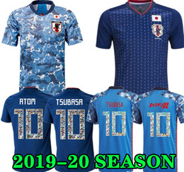 Maillots de football du japon en Ligne-2019 2020 Japan Soccer Jersey Capitaine Tsubasa Japon Home Chemise de football bleue N ° 10 Atom 19 20 Uniforme de football Top Qualité
