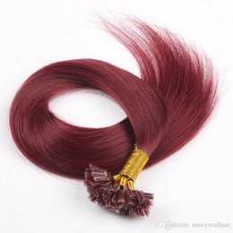 Canada Double Draw-Keratin pointe Extensions de cheveux humains INDIAN REMY 0.8g / s 200s / lot 99J Couleur U extensions de cheveux de pointe U, Free Dhl Offre