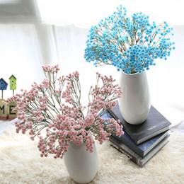 Testa blu fiore artificiale online-Gypsophila artificiale 90 teste Gypsophila Bouquet Gypsophila decorazione di cerimonia nuziale compleanno fai da te puntelli foto fiore bianco blu colore rosa