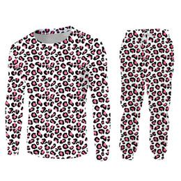2019 calças leopardo hip hop Rosa Leopardo 3d Impressão Pullover Fatos de Treino 2 Peças Define Homens Mulheres Hip Hop Terno Streetwear Unisex Roupas Calças de Suor Conjunto Personalizado calças leopardo hip hop barato