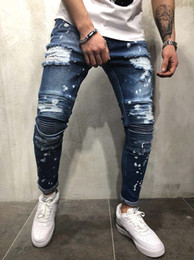 a1913d3ced2 distressing paint Coupons - Men Hip Hop Jeans Updated Distressed Biker  Painted Casual Ripped Denim Knee