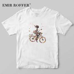 велосипедные принты Скидка EMIR ROFFER Flower Bicycle Girl Женская футболка с принтом Футболки с рисунком Женская мода Kawaii Корейская рубашка Хлопок Белые летние топы