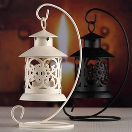 wholesale iron candle holder Promo Codes - European Style Home Decoration Lantern Iron Moroccan Style Candlestick Candle Holder Candle Stand Light Holder VBT05 T20