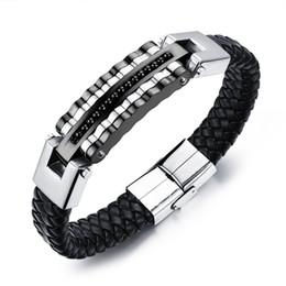 2019 Новый дизайн модный ремешок для часов браслет черный позолоченный из нержавеющей стали локомотив плетеный кожаный браслет от