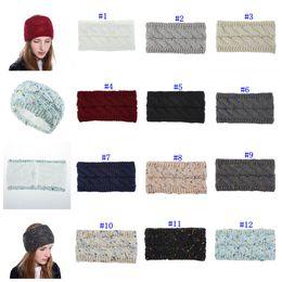 Cintas para la cabeza de invierno online-paño grueso y suave colorido Hairband torcedura de punto de ganchillo diadema del oído del calentador del invierno banda para el cabello accesorios elásticos pelo ancho MMA2519