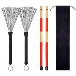 Instrument de batterie en Ligne-Brosse métallique 19 tas baguette de bambou faisceau bouche sac de rangement tambour tambour tambour accessoires d'instruments à percussion