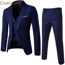 Piezas de esmoquin masculino diseños online-Nuevo diseño de 3 piezas conjunto de traje de hombre Blazer hombre hombre Tuxedo Trouses pantalones hombres Slim Fit trajes formales para el banquete de boda 81101 Q190514