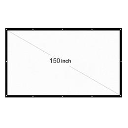 Filmes de teatro on-line-Portátil Tela Projector 16: 9 150 polegadas LED dobrável Branco Telas de projeção para fixado na parede Home Theater Filmes