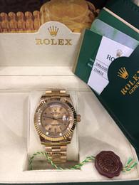 2019 laranja g choque Com a caixa original de Luxo Moda RELÓGIOS Qualidade Superior 18k Ouro Amarelo Diamante Dial 18038 Relógio Automático dos homens Relógio De Pulso