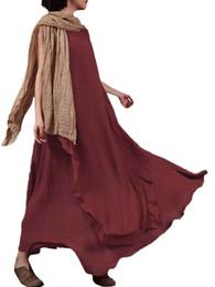 c201e151927 Vintage Women Long Summer Dress 2019 Sleeveless O Neck Long Maxi Linen  Dresses Loose 4XL 5XL Plus Size Beach Sundress Vestidos