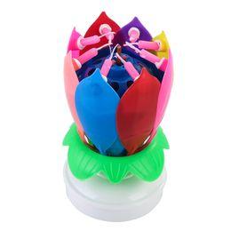 toppers do bolo das flores Desconto Partido inovador Bolo Topper Flor De Lótus Musical Rotating Vela Feliz Aniversário W / 8 Pequenas Velas C19041901
