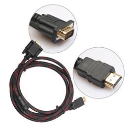 Hdmi pc de escritorio online-Comercio al por mayor Full HD 1080P 1.5M HDMI a 15 Pin VGA Adaptador Adaptador Cable HDMI Cable Cable para PC Computadora portátil de escritorio