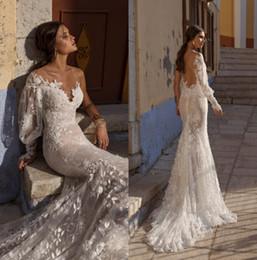 weiße spitzenstile nigeria Rabatt Lian Rokman 2019 Brautkleider Sexy One Sleeve Backless Mermaid Braut Brautkleider Sweep Zug Country Lace Robe De Mariage