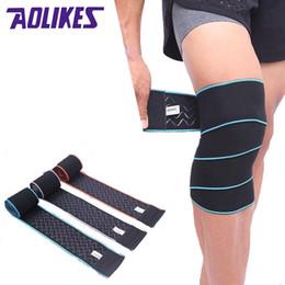 Canada AOLIKES 1 PCS 1.5 m * 8 cm Haltérophilie Knee Support Wrap Bretelles Bandage Élastique Jambe De Compression Sangle Veau Genouillères Sécurité # 321026 cheap elastic 8cm Offre