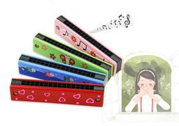 instruments harmonica Promotion 10 styles Bande dessinée peinte en bois 16 trous double rangée harmonica enfants musique éducative musique jouets instrument