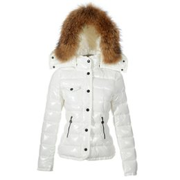 Pelz-luxusjacke online-Winter Women Jackets France Luxury down jacket Winter Coat Outerwear Down Coats Slim Parkas Raccoon Fur Collar Down Jacket Warm Winter Coats