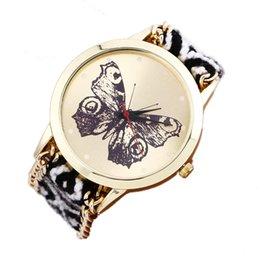 Canada Nouveau Papillon Ethnique Vent Tissé Femmes Bracelet Montre Mode Casual Dames Robe Quartz Cadran Montre-Bracelet Cadeau Horloge Kol Saati #S cheap ethnic fashion dresses Offre