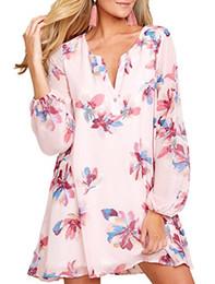 chiffon langarmshirt kleid Rabatt CILKOO Frauen Casual V-Ausschnitt Langarm Strand Chiffon Floral Etuikleid (S-XXL)