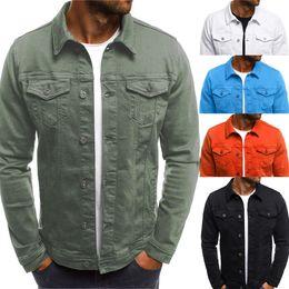 homens de design elegante Desconto Botão Outono Inverno dos homens Cor Sólida Do Vintage Denim Jacket Tops Brasão Elegante Design de Moda Transporte da gota
