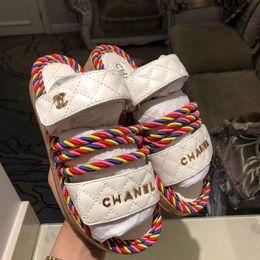 Designer de luxe femmes pantoufles pantoufles sandales de mode antidérapantes été corde tressée sandales demi-glisser Plage chaussures causales meilleure qualité ? partir de fabricateur
