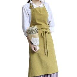 Льняная ткань для одежды онлайн-Япония стиль простой льняной ткани без рукавов фартуки взрослых кухня фартук хлебобулочные работы одежда комбинезоны для restaraunt