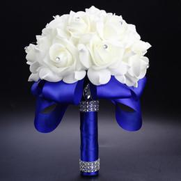 sacs de tapis en gros Promotion Superbe main Fleurs Bouquets de mariée mariage artificielle Bouquet cristal Étincelle 2020 New Rose buque de Noiva