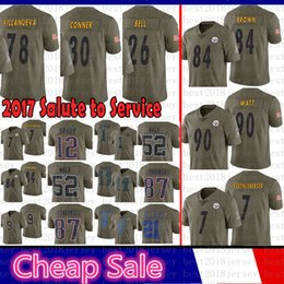 glocke trikot Rabatt Pittsburgh 2017 Steelers Salute zum Service 84 Antonio Brown Jersey 90 T.J. Watt 7 Ben Roethlisberger 26 Bell 78 Villanueva 30 James Conner