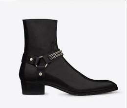 personalized shoes Coupons - Man Fashion Wyatt Harness Boots In Black Leather Mens Personalized Men Martin Boots Cowboy Boots High-top Shoes Pointed Stylist Catwalk