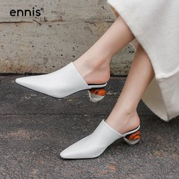 86a5f5f3282f 2019 High Heel Mules Women Pointed Toe Pumps Shoes Genuine Leather Slippers  Spring White Black Ladies Casual Shoes Fashion M912. Supplier  serendip