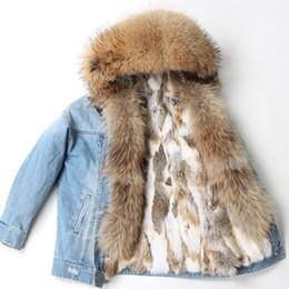 Capa de casaco de pele de coelho on-line-Maomaokong Cowboy Parka Winter Jacket Brasão Mulheres Parkas real Fur Natural Raccoon Fur capa real Rabbit Fur forro luxo Streetwea MX191102
