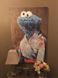 2019 imprimir galletas Lovely Cookie Monster In a Kimono Pintado a mano de alta calidad HD Print Abstract Modern Wall Art pintura al óleo sobre lienzo Decoración para el hogar de varios tamaños imprimir galletas baratos
