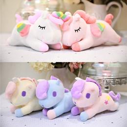 2019 almohada unicornio Prone Unicorn Plush Toys Party Supplies Chilren Birthday Party Gifts Doll Toys Soft Plush Fabrics Girls Pillow Gifts almohada unicornio baratos
