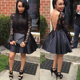 Vestiti neri di ritorno a maniche corte del merletto nero Abiti neri africani backless sexy ragazze dell'ultimo grado di promenade del vestito da promenade Abiti su ordinazione di graduazione da