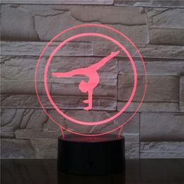 Ginnastica 3D ottico LED lampada illusione pannello luminoso decorazione del regalo Batteria Bin DC 5V USB alimentato all'ingrosso della fabbrica cheap gymnastic gifts da regali ginnastici fornitori