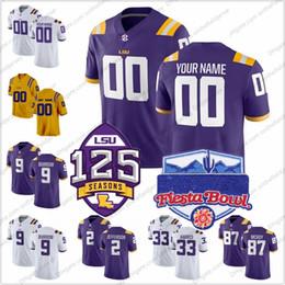 трикотажные изделия для боулинга Скидка Custom LSU Tigers 2018 Fiesta Bowl 125th Jerseys футбольного колледжа Любое имя № 9 Джо Барроу 33 Джамал Адамс 80 Джарвис Лэндри S-3XL