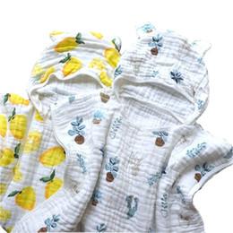 Cotone modello mantello online-Asciugamano da bagno in mussola di cotone Asciugamano da spiaggia per bambini Mantello per mantello Ins Modelli per ragazze Ragazzi SH190912