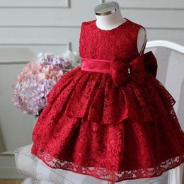 2019 vestido de encaje rojo recién nacido 2019 Vestido de niña recién nacida Tul de encaje rojo Fiesta de bautizo de bebé Vestido de princesa Arco Vestido de cumpleaños de 1 año Vestido de bautizo infantil