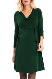 Xl algodão vestidos de maternidade on-line-Maternidade algodão rosa QueenWomen 3/4 manga vestido de enfermagem