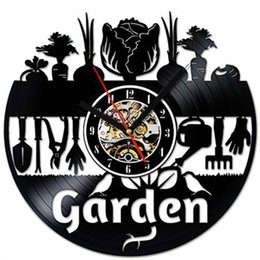 Садовые часы онлайн-Garden Crop Elements Виниловые Креативные Настенные Часы Современный Домашний Декор Украшение Комнаты Личность Wall Art Clock (Размер: 12 дюймов, Цвет: Черный)