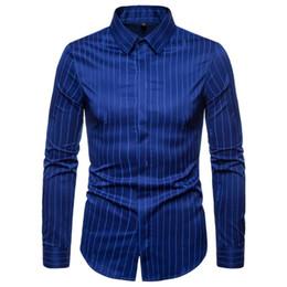 Listras brancas do preto dos homens camisas ocasionais on-line-Stripe Mens Camisas de vestido Homens roupas Slim Fit Negócios camisa casual para homens blusa de manga comprida Preto Marinho Branco