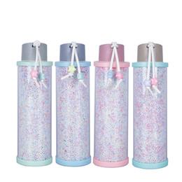 Doce de água on-line-310ml Plastic Foam Bead garrafa de água copo de vidro criativa Leak Prevention Doce cor tumbler menina portátil Homens Mulheres Caneca LJJA3135