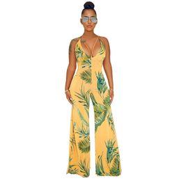 2019 pantalon negro de manga larga Primavera mujeres del verano del mono de Bodycon PLAYSUIT mono del guardapolvos de los mamelucos más el tamaño de la impresión floral del mono Pantalones sueltos