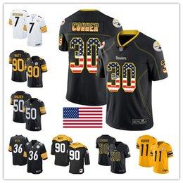Troy jersey online-Pittsburgh Steelers personalizzato maglie Troy Polamalu Jerome Bettis Ben Roethlisberger JuJu Smith-Schuster Ryan Shazier T.J. Watt James Conner
