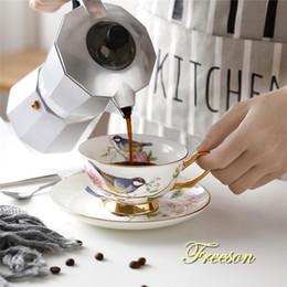 2020 té de pájaro Cerámica taza de té gota pastoral Bird China de hueso taza de té platillo cuchara conjunto 200ml Café Inglés porcelana taza de café de envío T191024 rebajas té de pájaro