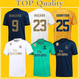 1c05142526 camisetas de madrid real Jerseys 2020 Camiseta Real Madrid Maillots Home  Goalkeeper HAZARD 19 20 Maillot De Foot Flash Deals