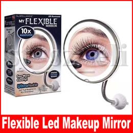 Lampes à ventouse en Ligne-Miroir de maquillage flexible col de cygne 10x 5x loupe miroir de vanité de salle de bains lumière LED avec ventouse forte miroir de voyage de 360 degrés pivotant