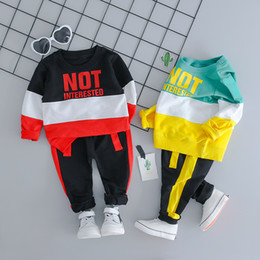 pants t shirt boy child Promo Codes - Autumn Baby Girl Boy Clothing Sets Infant Clothes Suits Casual Sport T Shirt Pants Kid Child Clothes Suits