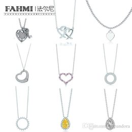 Bracelets commémoratifs en Ligne-FAHMI Charme 925 Sterling Silver Love Twinkle Teardrop Inlay Zircon Soleil Collier Original Bijoux De Mode Pour Femmes Memorial Day TIF